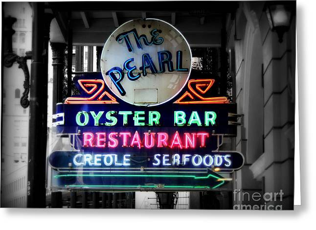 Neon Greeting Cards - The Pearl Greeting Card by Perry Webster