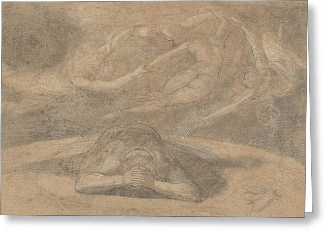 Romanticism Drawings Greeting Cards - The Peasants Dream Paradise Lost Book 1 Greeting Card by Henry Fuseli