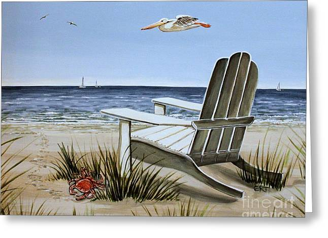Beach Art Greeting Cards - The Pelican Greeting Card by Elizabeth Robinette Tyndall