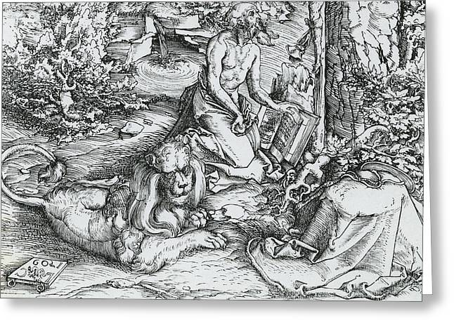 Scripture Drawings Greeting Cards - The Penitence of Saint Jerome Greeting Card by Lucas the elder Cranach