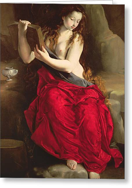Mary Greeting Cards - The Penitent Magdalen Greeting Card by Spanish School