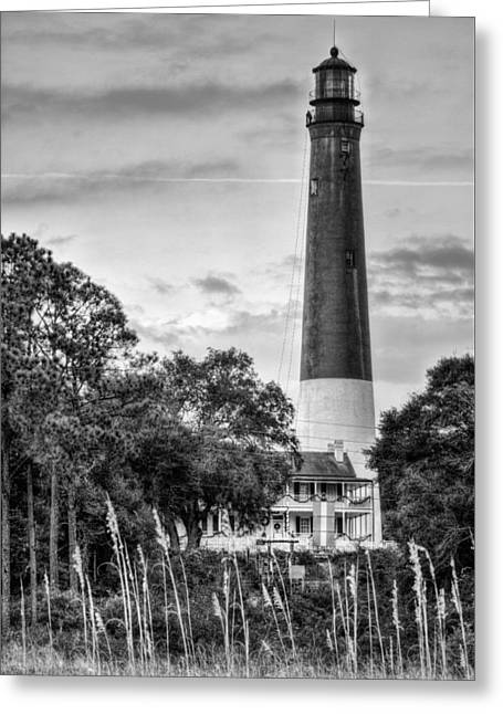 Florida Panhandle Greeting Cards - The Pensacola Lighthouse Black and White Greeting Card by JC Findley