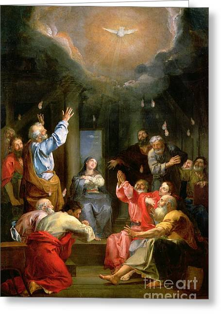Knelt Paintings Greeting Cards - The Pentecost Greeting Card by Louis Galloche