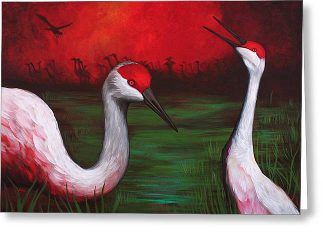 Sandhill Crane Greeting Cards - The People Greeting Card by Bonnie Kelso