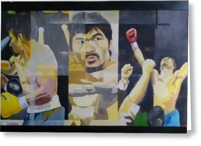 Pacman Paintings Greeting Cards - The Peoples Champ Greeting Card by Lander Blanza