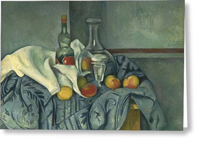 Table Cloth Greeting Cards - The Peppermint Bottle Greeting Card by Paul Cezanne