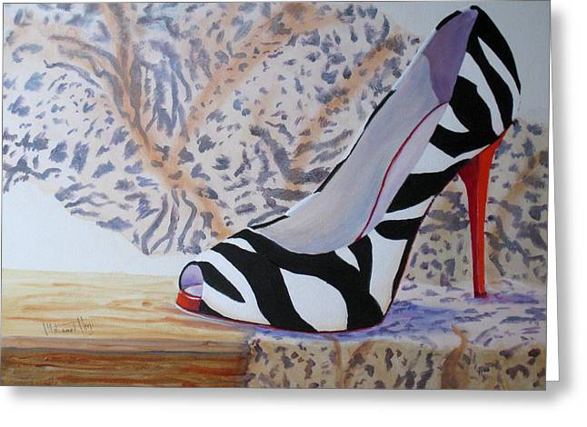 High Heeled Paintings Greeting Cards - The Perfect Fit Greeting Card by Mohamed Hirji