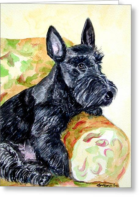 K9 Greeting Cards - The Perfect Guest - Scottish Terrier Greeting Card by Lyn Cook