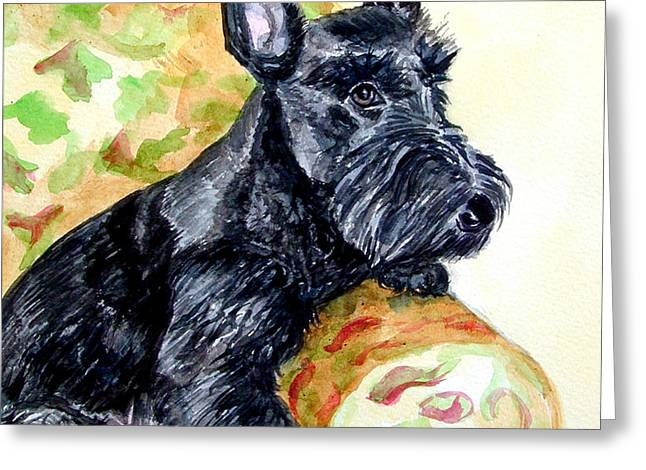 The Perfect Guest - Scottish Terrier Greeting Card by Lyn Cook