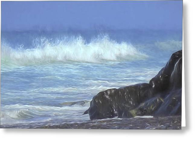 Clemente Mixed Media Greeting Cards - Waves Crashing Greeting Card by Susan Lupton