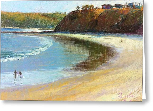 Cliffs Pastels Greeting Cards - The Perfect Wave is out There Greeting Card by Pamela Pretty