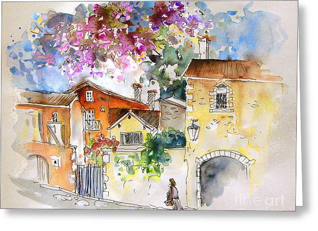 Travel Sketch Drawings Greeting Cards - The Perigord in France Greeting Card by Miki De Goodaboom