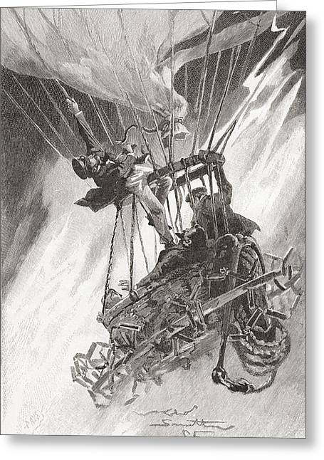 Dangerous Drawings Greeting Cards - The Perils Of Hot Air Ballooning. A Greeting Card by Ken Welsh