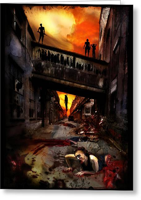 Undead Greeting Cards - The Perimeter Guard Greeting Card by Mandem