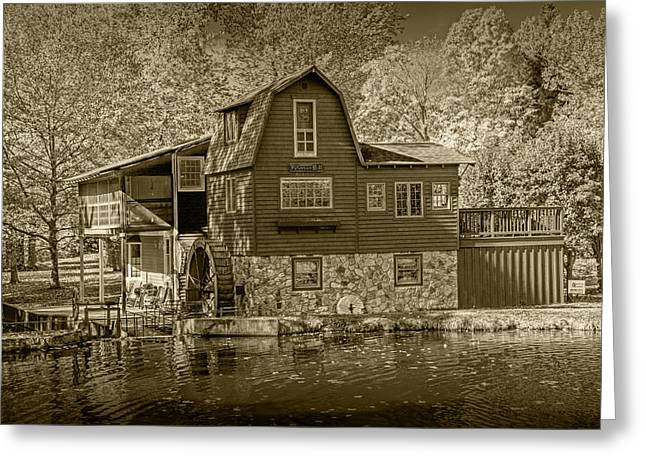 Color Wheel Art Greeting Cards - The Peterson Mill at Saugatuck in Sepia  Greeting Card by Randall Nyhof