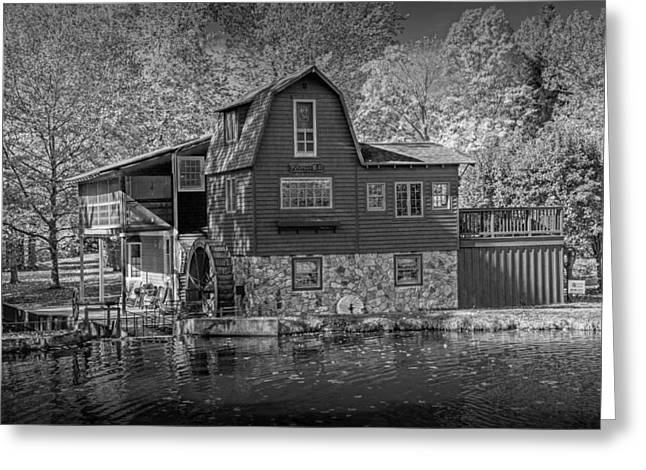 Color Wheel Art Greeting Cards - The Peterson Mill in Black and White Greeting Card by Randall Nyhof
