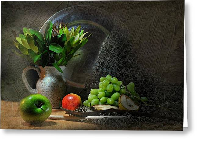 Still Life With Green Apples Greeting Cards - The Pewter Plate Greeting Card by Diana Angstadt