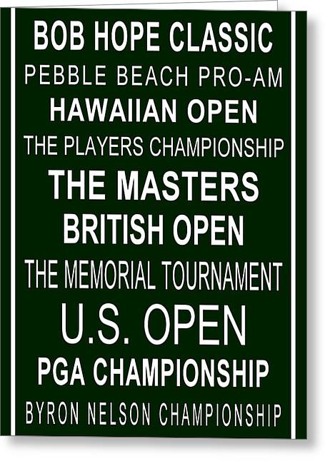 The Pga Tour In Green Greeting Card by Jeffery Finkbeiner
