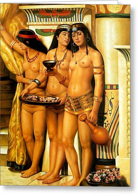 Collier Paintings Greeting Cards - The Pharaohs Handmaidens  Greeting Card by John Collier