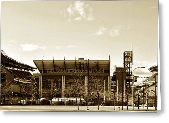 Sports Arenas Greeting Cards - The Philadelphia Eagles - Lincoln Financial Field Greeting Card by Bill Cannon