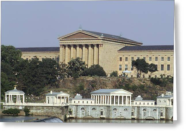Philadelphia Art Museum Greeting Cards - The Philly Art Museum and Waterworks Greeting Card by Bill Cannon