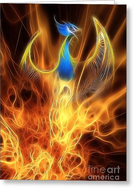 Extinct And Mythical Digital Art Greeting Cards - The Phoenix rises from the ashes Greeting Card by John Edwards