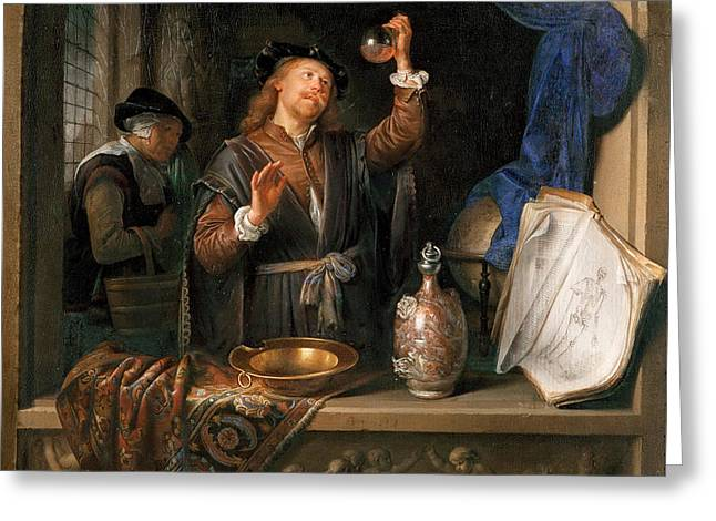 The Physician Greeting Card by Gerrit Dou