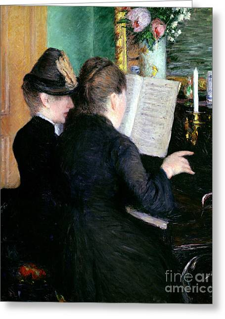Caillebotte; Gustave (1848-94) Greeting Cards - The Piano Lesson Greeting Card by Gustave Caillebotte
