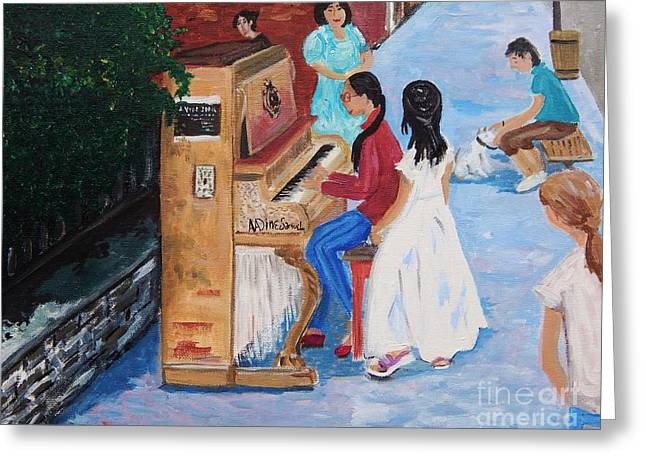 The Piano Player Greeting Card by Reb Frost