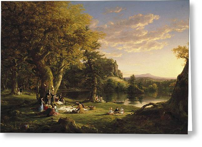 The Pic-nic Greeting Card by Thomas Cole
