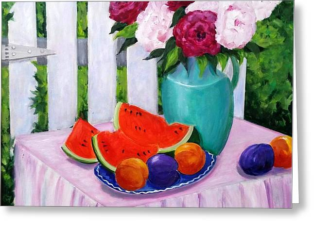 Watermelon Greeting Cards - The Picnic Greeting Card by Rosie Sherman