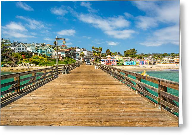 Santa Cruz Wharf Greeting Cards - The pier and view of the beach in Capitola California  Greeting Card by Jon Bilous