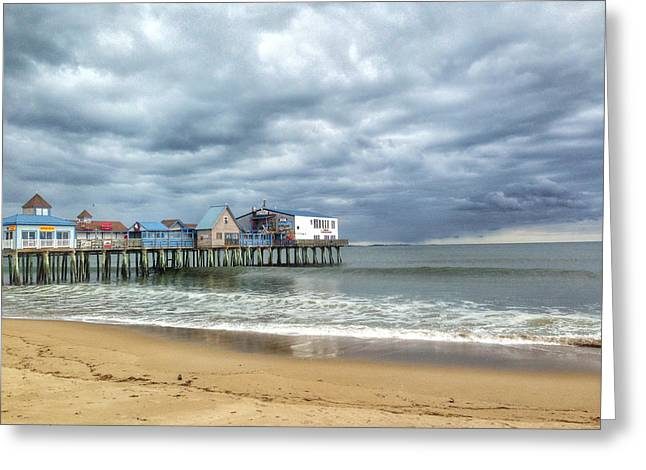 Maine Spring Greeting Cards - The Pier at Old Orchard Beach Greeting Card by Katherine Antin