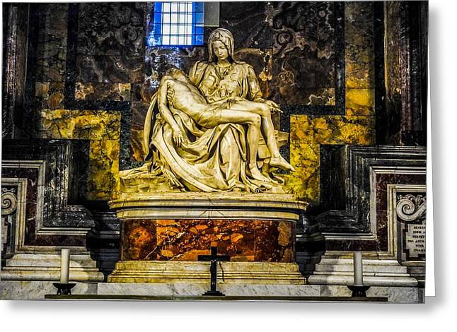 Buonarroti Photographs Greeting Cards - The Pieta by Michelangelo at the Vatican Greeting Card by Marilyn Burton