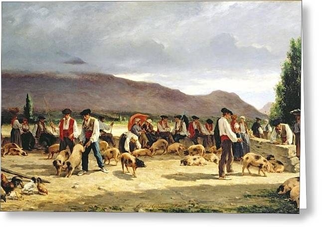 The Pig Market Greeting Card by Pierre Edmond Alexandre Hedouin