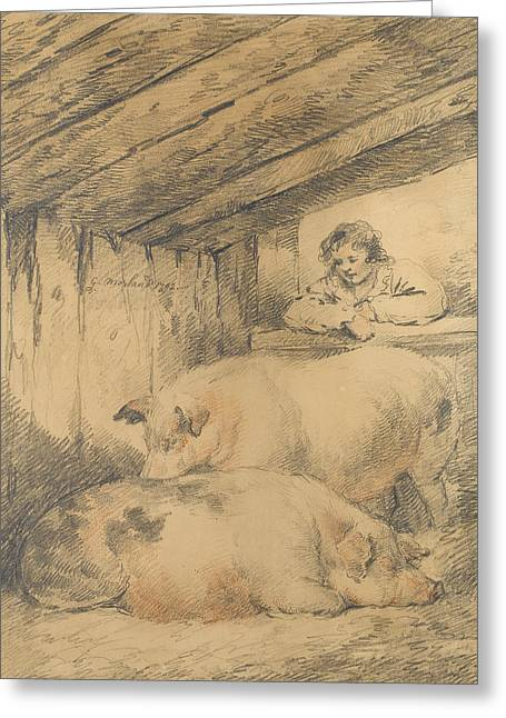 The Pig Sty Greeting Card by George Morland