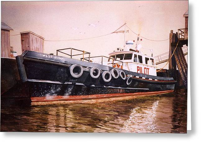 Long Island Paintings Greeting Cards - The Pilot Boat Greeting Card by Marguerite Chadwick-Juner