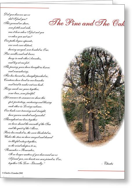 Sharing Mixed Media Greeting Cards - The Pine and The Oak Greeting Card by Charles Laudan