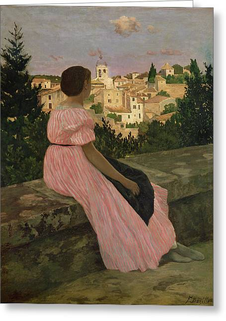 Recently Sold -  - Surveying Greeting Cards - The Pink Dress Greeting Card by Jean Frederic Bazille