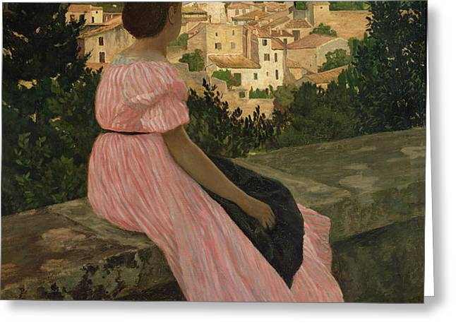 The Pink Dress Greeting Card by Jean Frederic Bazille