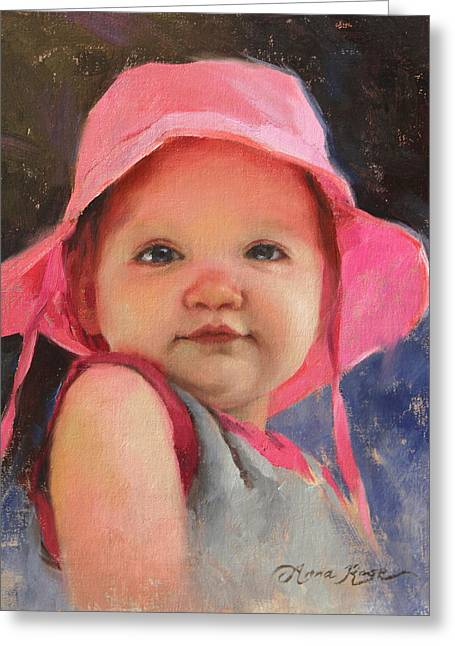 Baby Girl Greeting Cards - The Pink Hat - Cecelia at 11 Months Greeting Card by Anna Bain