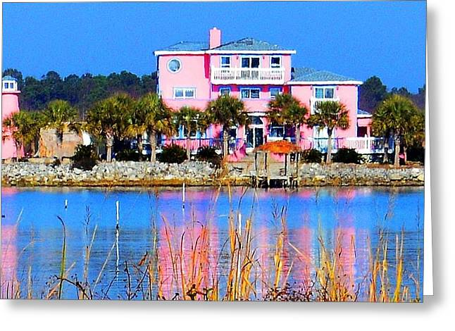 Snead Greeting Cards - The Pink Mansion Greeting Card by Carol Costello