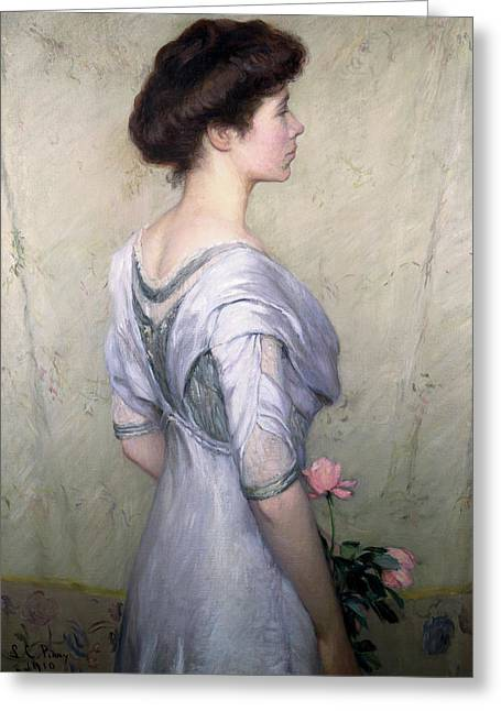 Youthful Paintings Greeting Cards - The Pink Rose Greeting Card by Lilla Cabot Perry