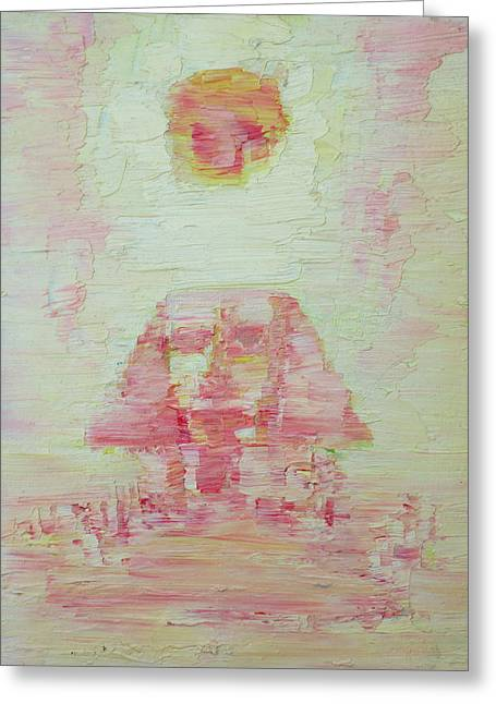 The Plateaus Paintings Greeting Cards - The Pink Sphinx Greeting Card by Fabrizio Cassetta