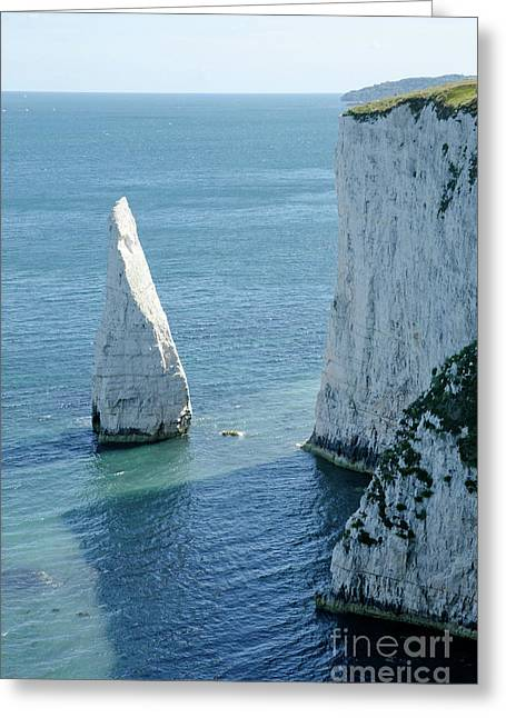 Shore Greeting Cards - THE PINNACLE stack of white chalk on the Isle of Purbeck Dorset England UK Greeting Card by Andy Smy