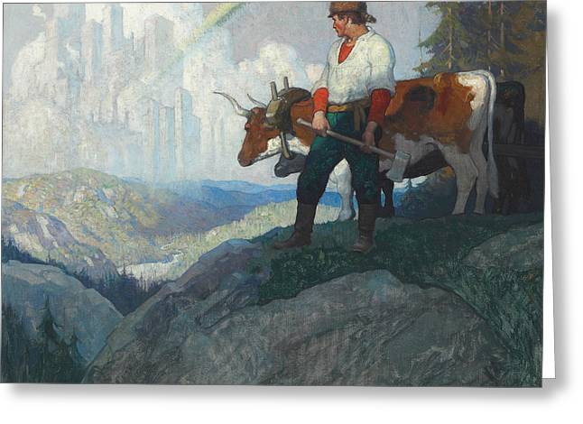 The Pioneer And The Vision Greeting Card by Newell Convers Wyeth