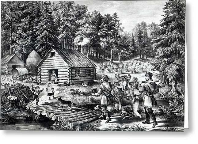 The Pioneer's Home On The Western Frontier Greeting Card by Currier and Ives