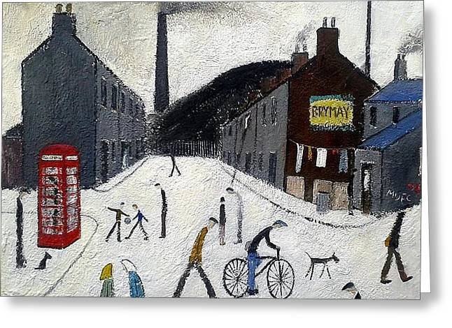 Working Dog Greeting Cards - British Industrial Northern Art Landscapes  - The Pit Village Greeting Card by Walker Scott