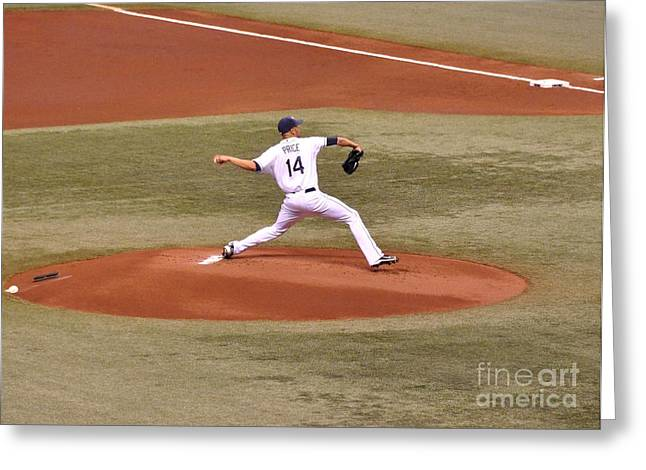 The Pitch - David Price Greeting Card by John Black