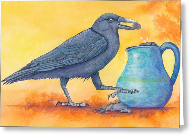 Clever Paintings Greeting Cards - The Pitcher and the Crow - Fable Illustration Greeting Card by Marie Stone Van Vuuren